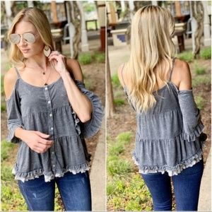 Charcoal Vintage Wash Cold Shoulder Tunic